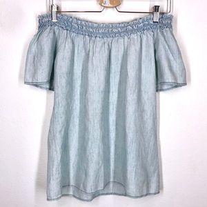 Michael Stars off the shoulder chambray top sz S